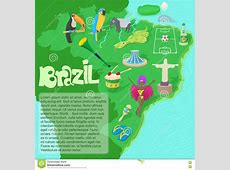 Brazil Map Concept, Cartoon Style Stock Vector Image