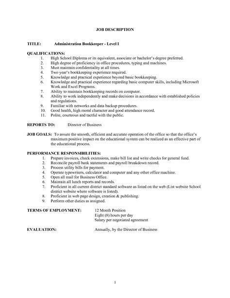 bookkeeping description duties bookkeeper description salary