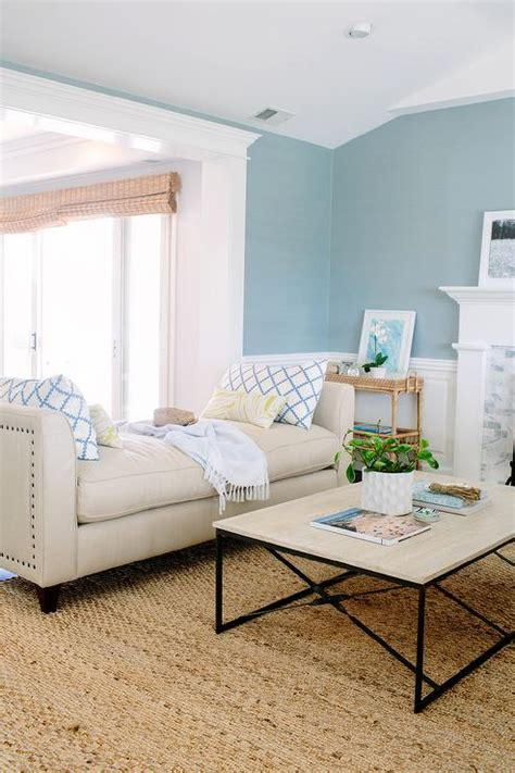 Blue Yellow And Beige Living Room by Beige Nailhead Backless Settee With Yellow And Blue