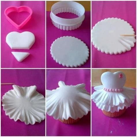 picture how to for fondant wedding dress themed cupcake