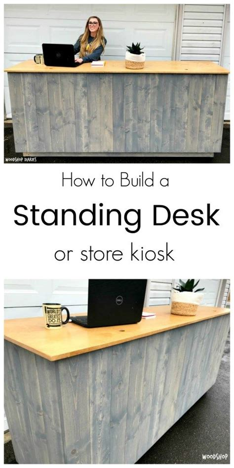build   diy standing desk kiosk  hidden