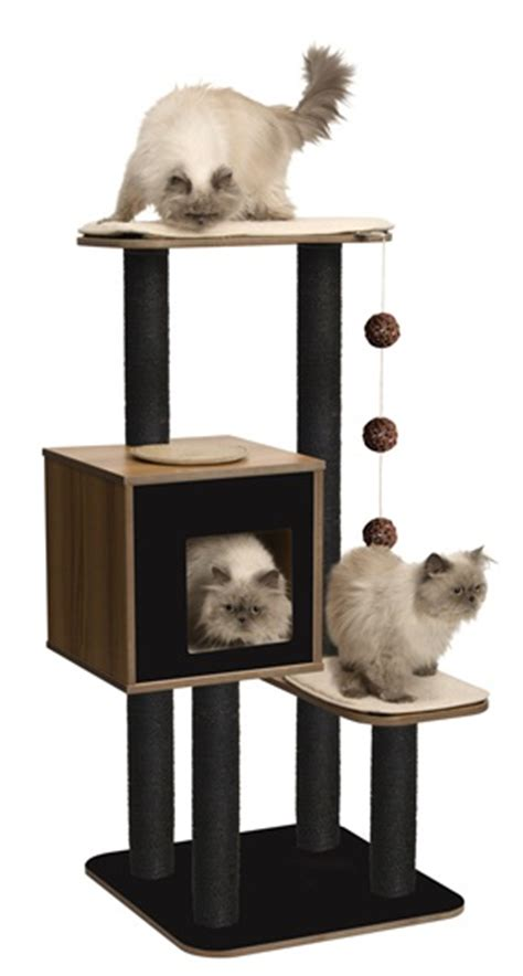 vesper cat furniture walnut v high base cats are demanding creatures and so are cat