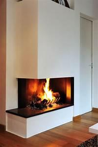 Cheminée Contemporaine Foyer Fermé : cheminee d 39 angle contemporaine foyer ouvert ~ Melissatoandfro.com Idées de Décoration