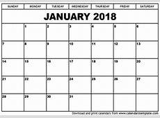 January 2018 Calendar Cute calendar printable free