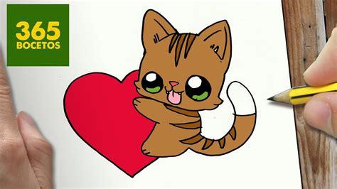 como dibujar gato y corazon kawaii paso a paso dibujos kawaii faciles how to draw a cat
