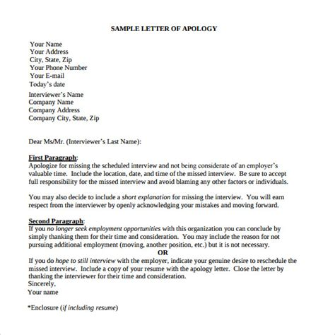 sample letter  apology    documents