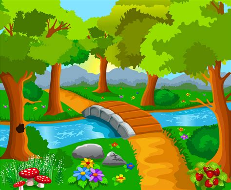 cartoon river cartoon river trees background image