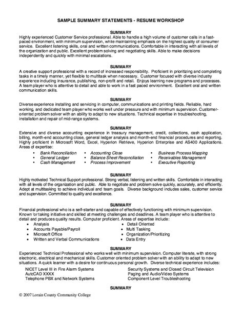 technical summary in resume