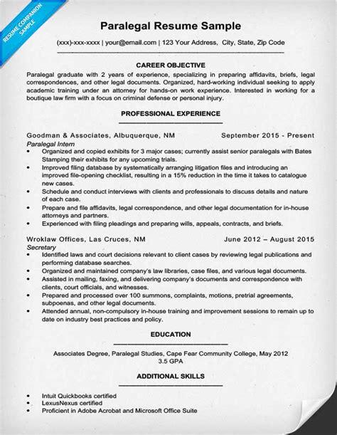 paralegal resume sle writing tips resume companion