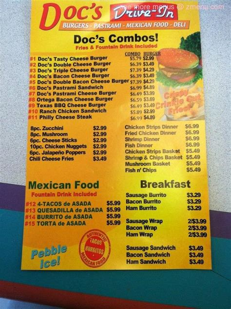 Online Menu of Doc's Drive In Diner Restaurant, Visalia ...