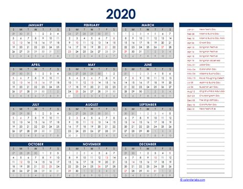 thailand yearly excel calendar  printable templates