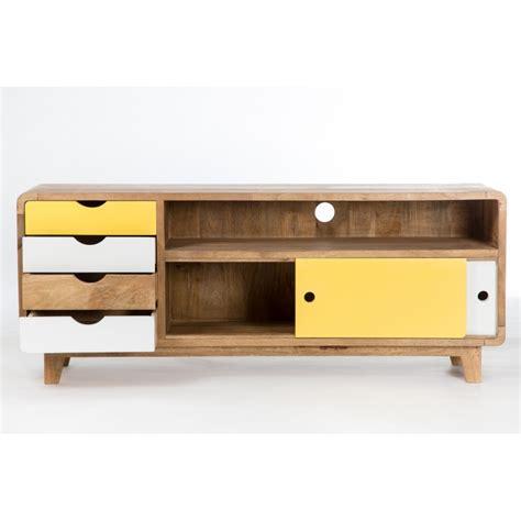 meuble tv inspiration scandinave 4 tiroirs 2 portes sweet mango