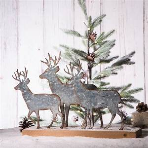 Glitzhome, 13, 19, U0026quot, Christmas, Galvanized, Metal, Wooden, Reindeer, Table, D, U00e9cor, -, Walmart, Com