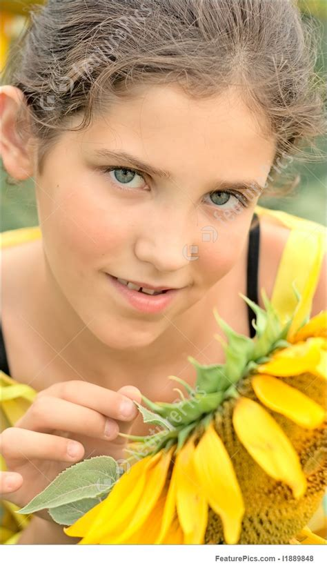 Fine Art Beauty Teen Girl And Sunflower Stock Picture I1889848 At Featurepics
