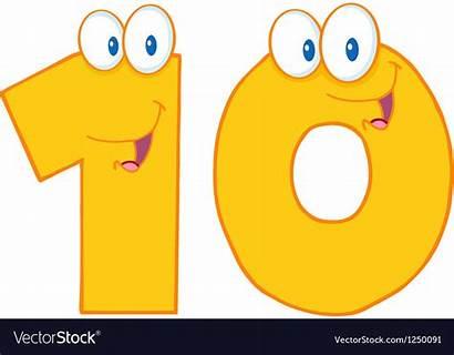 Ten Number Vector Vectorstock Cartoon Numbers Drawing