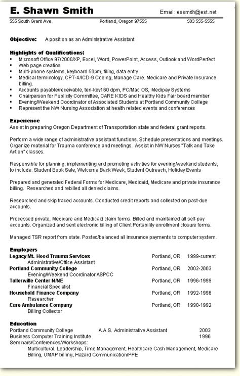skill based resume sample administrative assistant