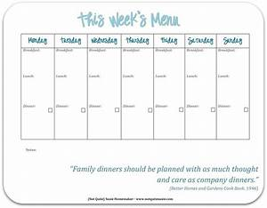 free printable weekly meal planner not quite susie With weekly lunch menu template