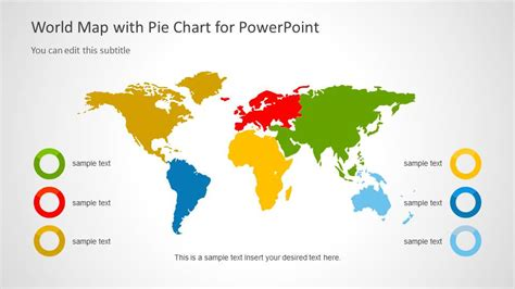 world map  pie diagram  slidemodel