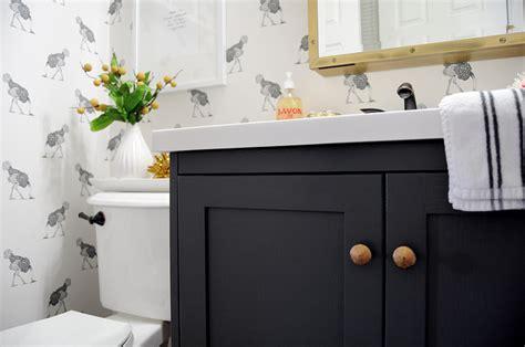 dark gray vanity eclectic bathroom farrow  ball