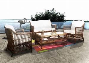 Salon De Jardin Bambou : salon chili bambou marron rotin design salon de jardin ~ Teatrodelosmanantiales.com Idées de Décoration
