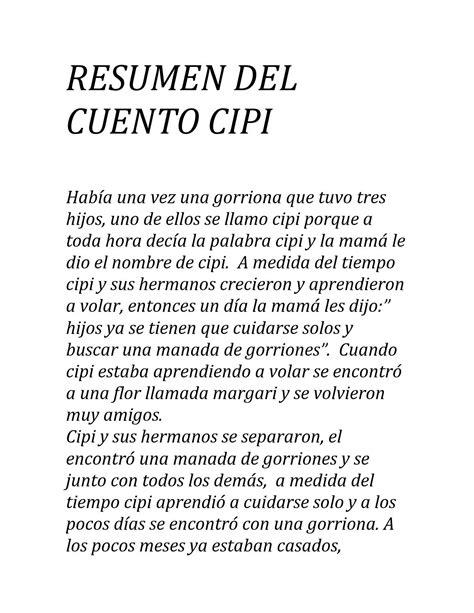 resumen cuento cipi by leonardo castro issuu