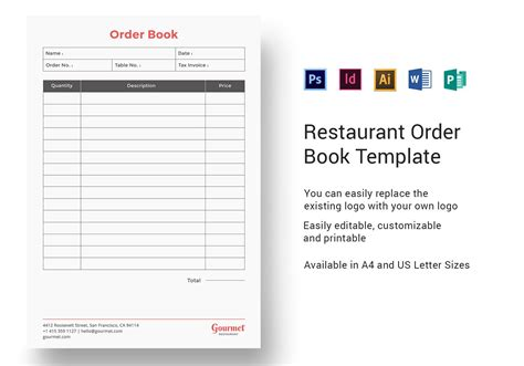 restaurant order book template  psd word publisher