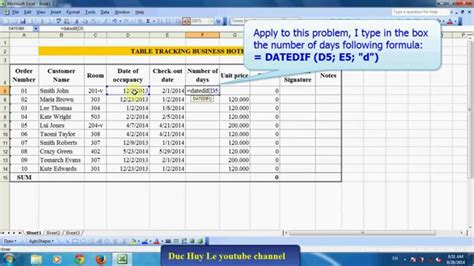 calculate number days excel youtube