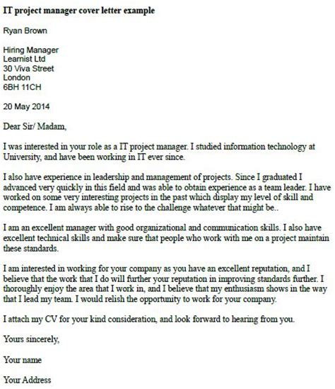 project manager cover letter it project manager cover letter exle learnist org