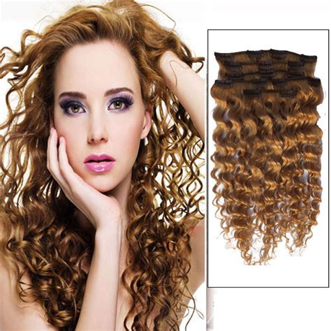 18 Inch 12 Golden Brown Clip In Hair Extensions Curly 7