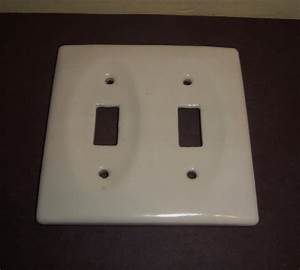 Porcelain, Light, Switch, Cover, Plate, Vintage, Double, Toggle, White