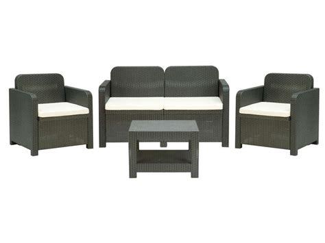 Salon de jardin canapu00e9 2 places + 2 fauteuils + table basse SORRENTO coloris gris - Vente de ...