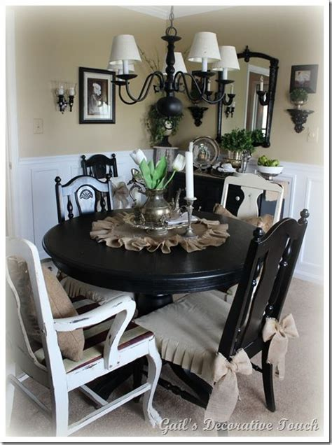 black table with burlap black white taupe everything