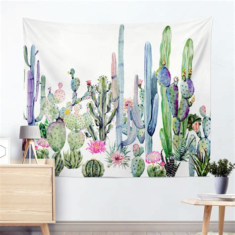 drop shipping cactus watercolor hanging wall tapestries