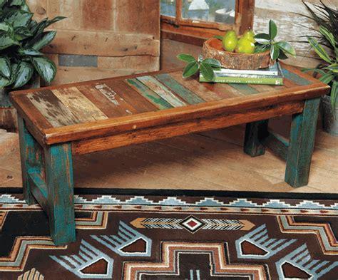 western furniture  wood turquoise benchlone star