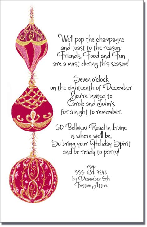 christmas invite ryhmes gold tree ornament invitation invitations