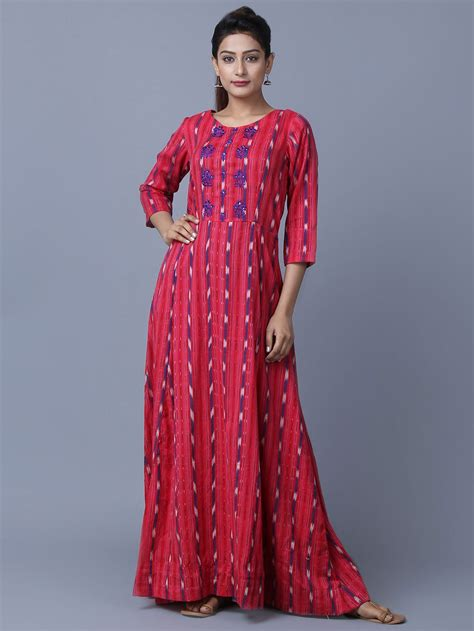buy red cotton ikat maxi dress   theloom