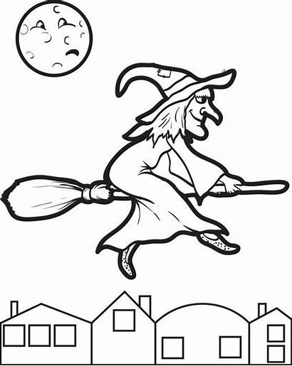 Witch Broom Coloring Halloween Colouring Flying Printable