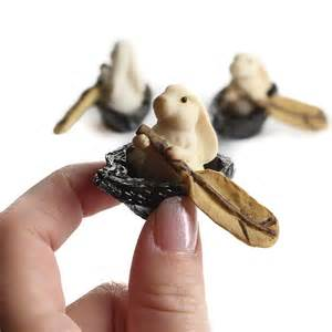 miniature rowing rabbit figurines what s new dollhouse miniatures doll making supplies