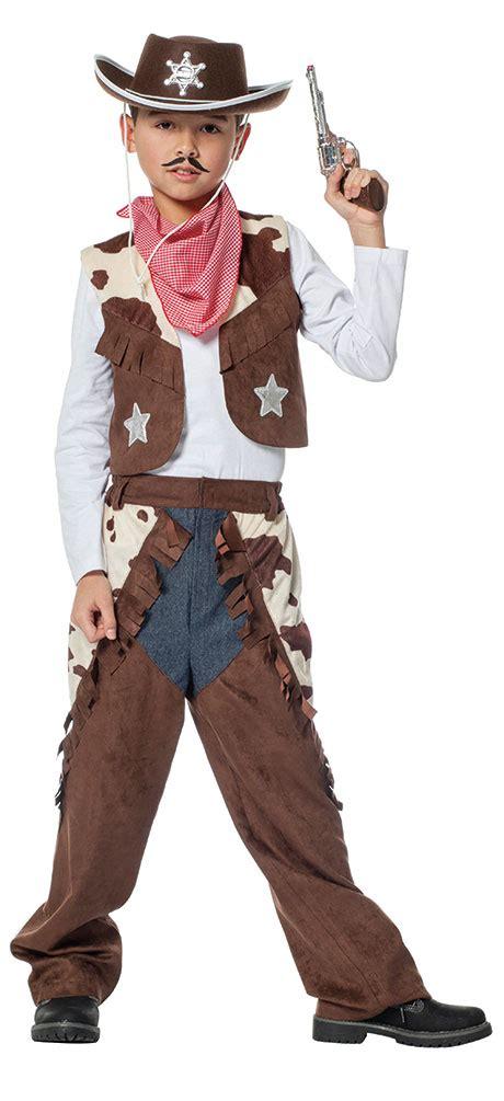 cowboy kostuem kinder braun kuhdruck western kostuem kinder