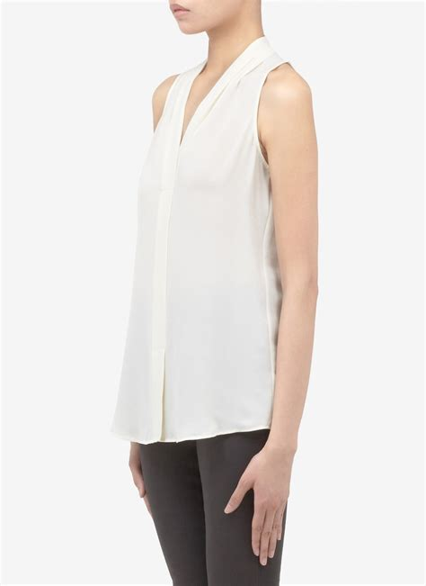 Lyst Theory Silk Sleeveless Blouse In White