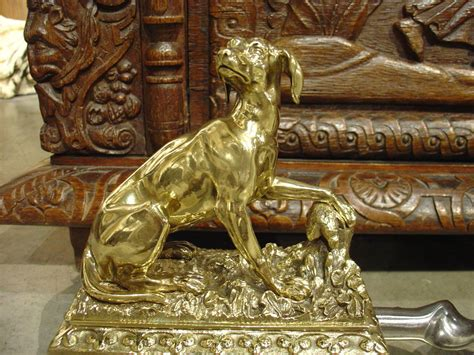 Antique Bronze And Brass Hunting Dog Fireplace Fender From