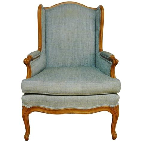 louis xv style linen wingback chair at 1stdibs