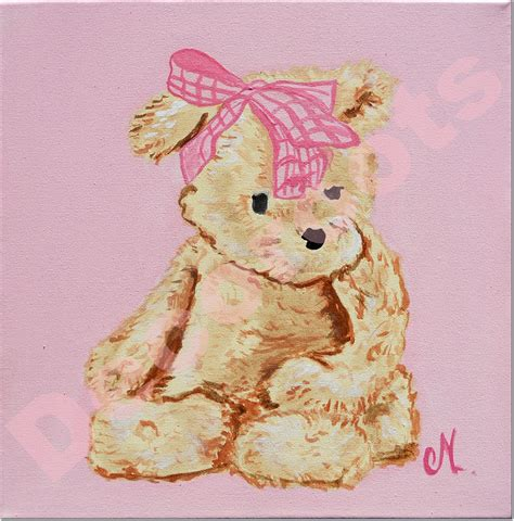toile chambre bébé fille tableau bébé ours décoration chambre enfant bébé