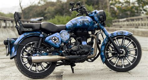 skyline royal enfield classic 500cc with camouflage paint 350cc modified royal enfield