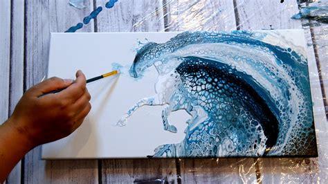 ocean horse acrylic pour  pretty blues youtube