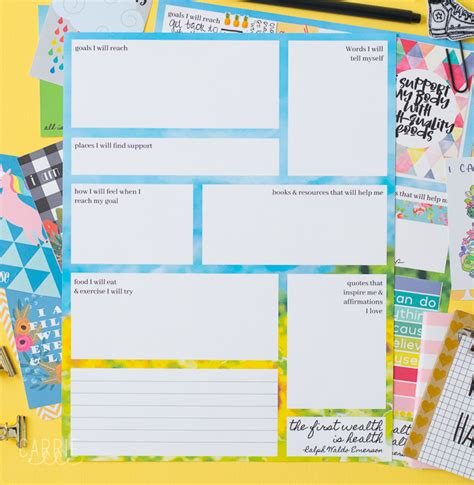 Vision Board Template Printable Weight Loss Vision Board Template Carrie