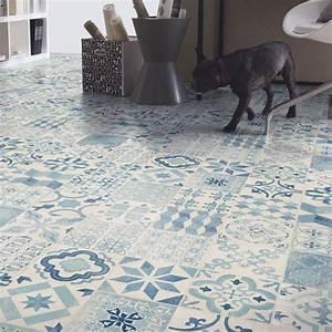 Sol Vinyle Imitation Carreau De Ciment : sol pvc lino imitation carreaux de ciment bleu larg ~ Premium-room.com Idées de Décoration
