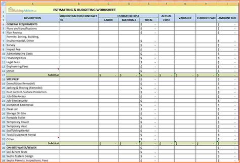 Construction Job Costing Templates by 9 Construction Job Costing Spreadsheet Excel