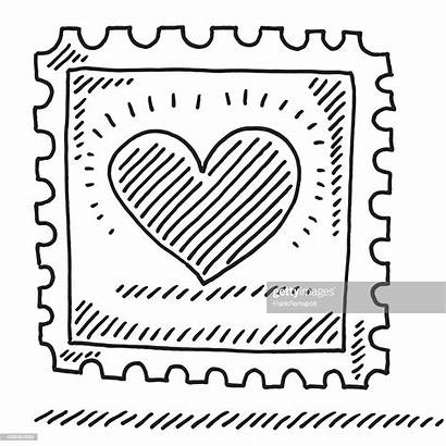 Briefmarke Stamp Drawing Heart Timbre Dessin Clipart