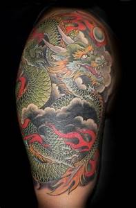 Japanese dragon half sleeve by Andrea at Slave to the ...